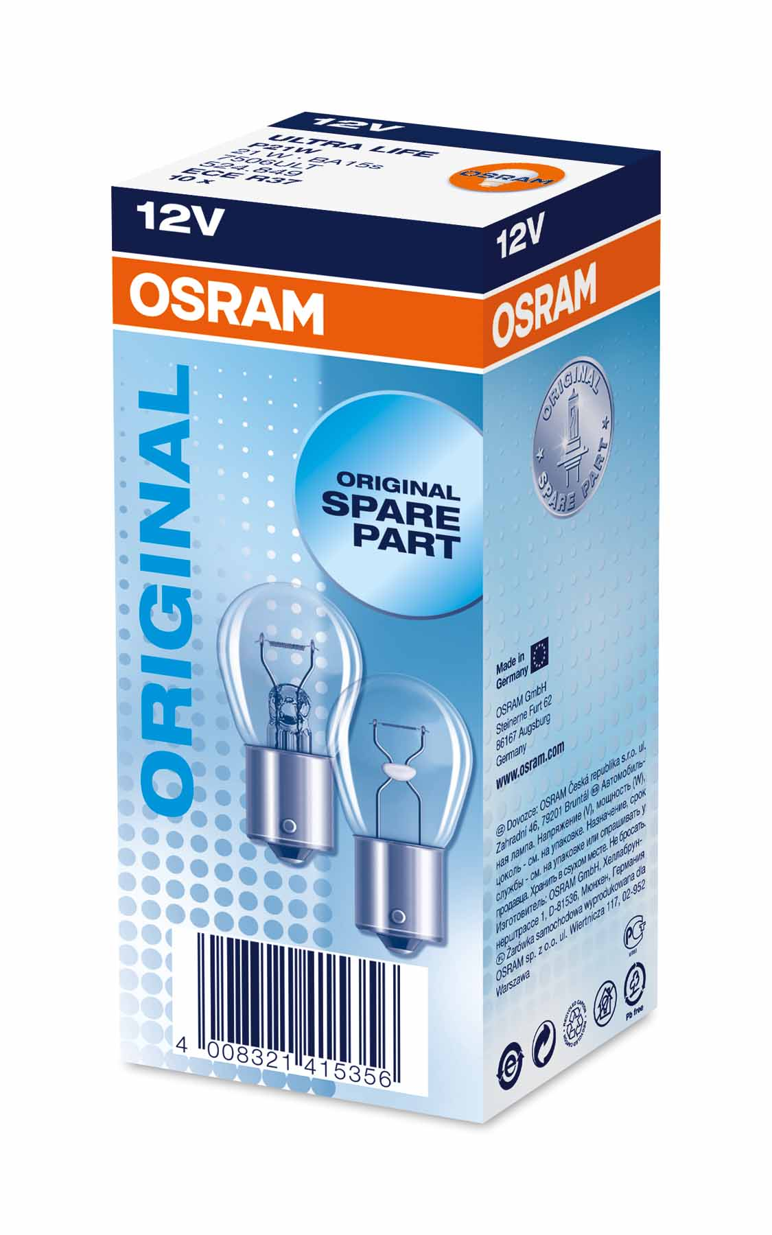 Ampoule P21W Ultra Life 21W [12V] (2 pièces) | OSRAM