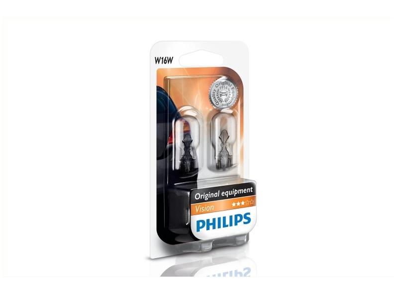 Culot en verre W16W [12 V] (2 pcs.) | PHILIPS